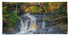 Beach Towel featuring the photograph High Arch Bridge In Vaughan Woods by Rick Berk