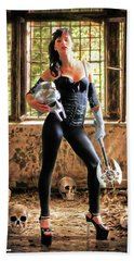 High Heeled Zombie Slayer Beach Towel