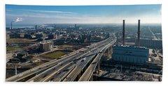 Beach Sheet featuring the photograph High-rise Bridge by Randy Scherkenbach