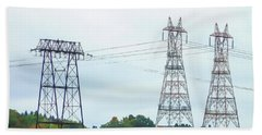 High-voltage Power Transmission Towers  2 Beach Towel