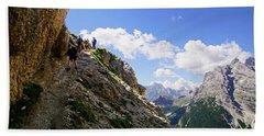 Hikers On Steep Trail Up Monte Piana Beach Towel
