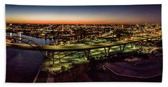 Beach Sheet featuring the photograph Hoan Bridge At Dusk Panorama by Randy Scherkenbach