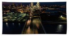 Beach Sheet featuring the photograph Hoan Bridge Streaks by Randy Scherkenbach