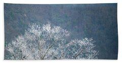 Hoarfrost Collects On Branches Beach Sheet