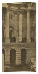 Hoisting Final Marble Column At United States Capitol Beach Towel