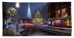 Beach Towel featuring the photograph Holiday Magic, Market Square by Jeff Sinon