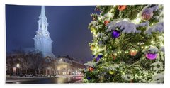 Beach Towel featuring the photograph Holiday Snow, Market Square by Jeff Sinon