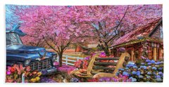 Home Is Where The Heart Is Country Painting Beach Towel