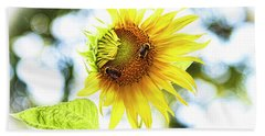 Honey Bees On Sunflower Beach Towel