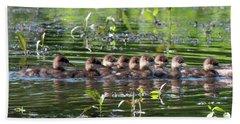 Hooded Merganser Ducklings Dwf0203 Beach Sheet