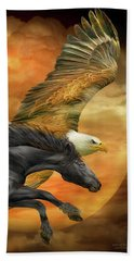 Beach Towel featuring the mixed media Horse And Eagle - Spirits Of The Wind  by Carol Cavalaris