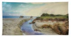 Horses Along The Beach Beach Towel