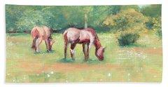 Horses In The Fields Beach Towel