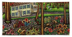 House In The Meadow  Beach Towel