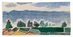 Houses, Trees, Mountains, Clouds Beach Towel