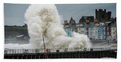 Huge Wave Hitting Aberystwyth Seafront Beach Towel