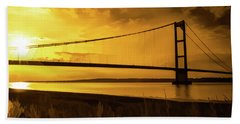 Beach Towel featuring the photograph Humber Bridge Golden Sky by Scott Lyons