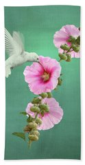 Hummingbird And Malva Wildflower Beach Towel