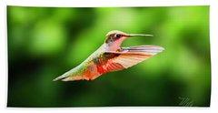 Hummingbird Flying Beach Towel