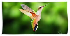 Hummingbird Hovering Beach Towel