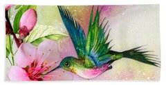 Hummingbird On Pink Blossom Beach Towel