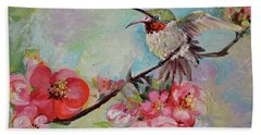 Hummingbird On Quince Flowering Branch Beach Towel
