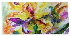 Hummingbird Song Watercolor Beach Towel