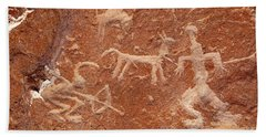 Hunter With Bow And Arrow Petroglyph Ofragia Chile Beach Towel