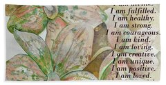 I Am...positive Affirmation In Coral And Green Beach Towel