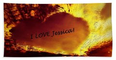 I Love Jessica Heart Beach Towel