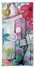 Beach Towel featuring the mixed media I Opened The Curtain And There Was Spring  by Mimulux patricia No
