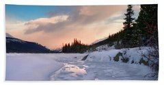 Icefields Parkway Winter Morning Beach Towel