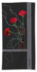 Red Carnations And Bamboo Vase Beach Towel