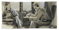 Illustration For The Sherlock Holmes Story The Adventure Of Silver Blaze Beach Towel