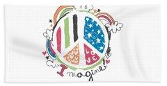 Imagine Love And Peace - Baby Room Nursery Art Poster Print Beach Sheet