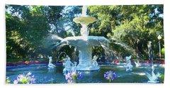 Impressionist Forsyth Park Fountain Beach Towel
