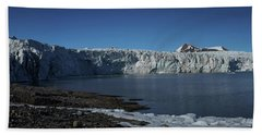 In Front Of A Glacier On Svalbard Beach Sheet