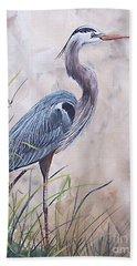 In The Reeds Blue Heron-36x48 Beach Towel