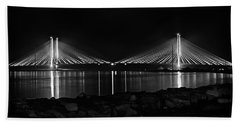 Indian River Bridge After Dark In Black And White Beach Towel
