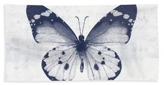 Indigo And White Butterfly 1- Art By Linda Woods Beach Towel