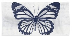 Indigo And White Butterfly 3- Art By Linda Woods Beach Towel