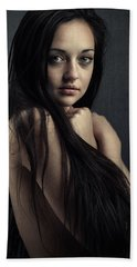 Innocent Young Woman Beach Towel