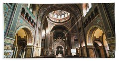 Beach Towel featuring the photograph Interior Of The Votive Cathedral, Szeged, Hungary by Milan Ljubisavljevic