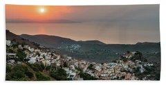Beach Towel featuring the photograph Ioulis Town Sunset, Kea by Milan Ljubisavljevic