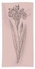 Iris Blush Pink Flower Beach Towel