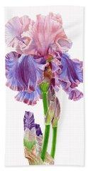 Iris Florentine Silk On White Beach Towel