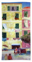 Italian Piazza With Laundry Beach Towel