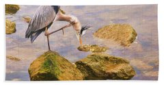 Itchy  Neck Heron Beach Towel