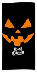 Jackolantern Pumpkin Happy Halloween Beach Towel