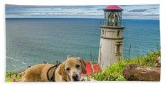 Jackson At Heceta Head Lighthouse Beach Towel